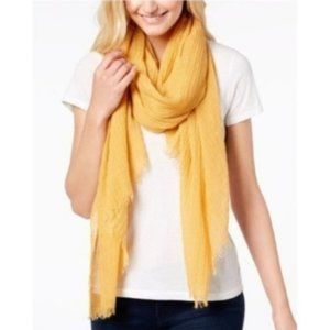 Steve Madden Solid Crinkle Scarf, Yellow, One Size